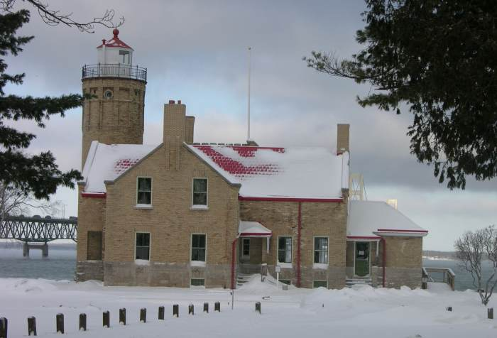 Old Mackinac Point Lighthouse in winter.