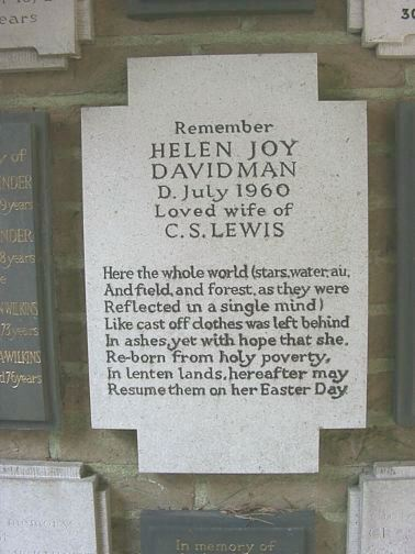 memorial to Helen Joy Davidman