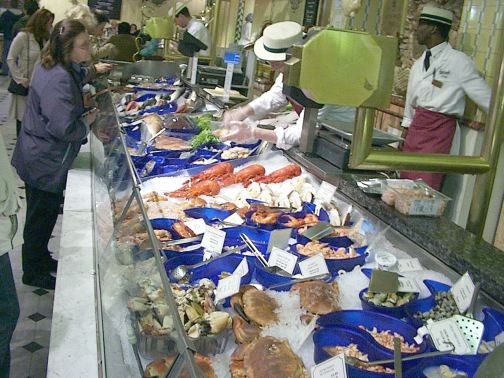 Seafood counter in Harrods department store.