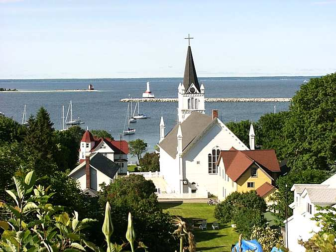 Round Island and Mackinac lighthouses - St. Anne's Catholic Church