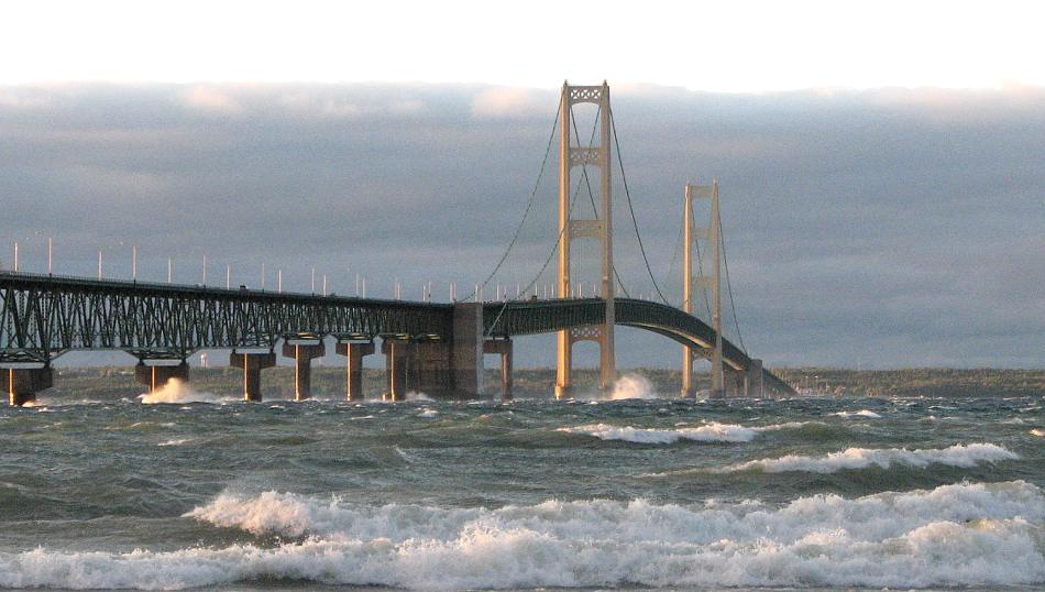 waves and the Mackinac Bridge