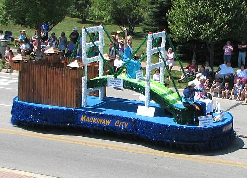Mackinaw City float in Mackinac Bridge Parade