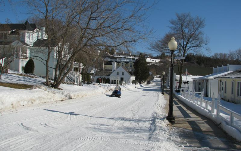 Mackinac Island street in winter