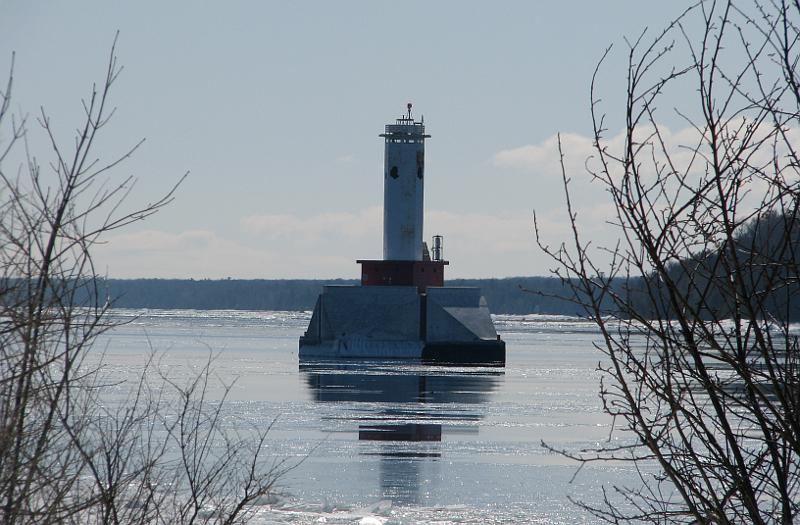 Round Island Passage Light in winter