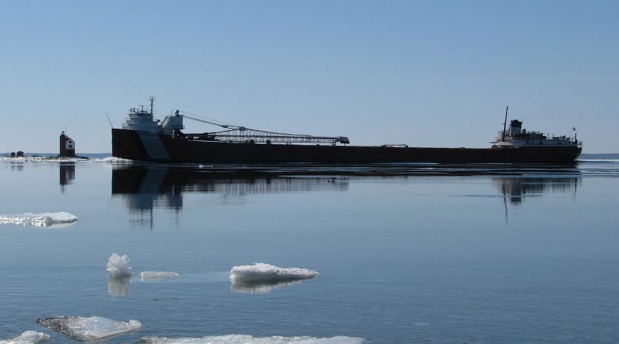 John Munson Great Lakes freighter in ice
