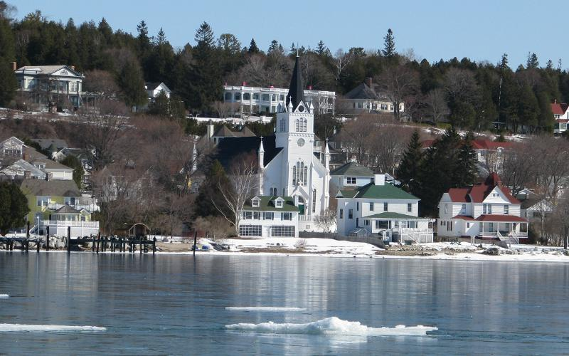 Ste. Anne Catholic Church on Mackinac Island, Michigan in winter