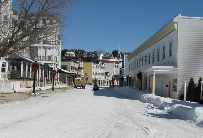 Mackinac Island Main Street in winter