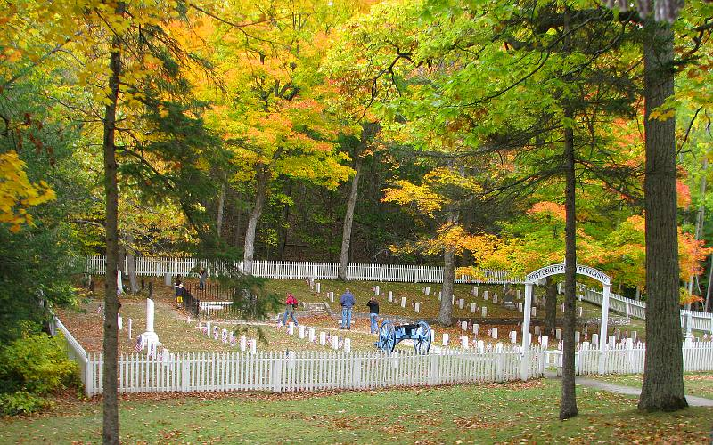 Fort Mackinac Post Cemetery in autumn