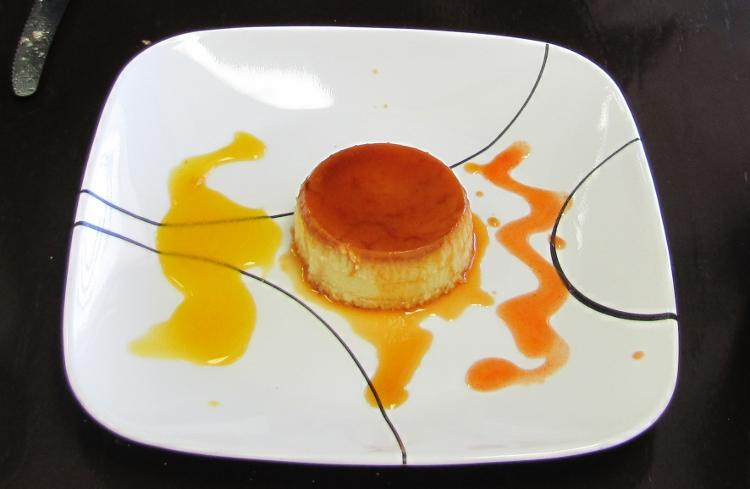 homemade flan at Rubio's Cuban Cafe
