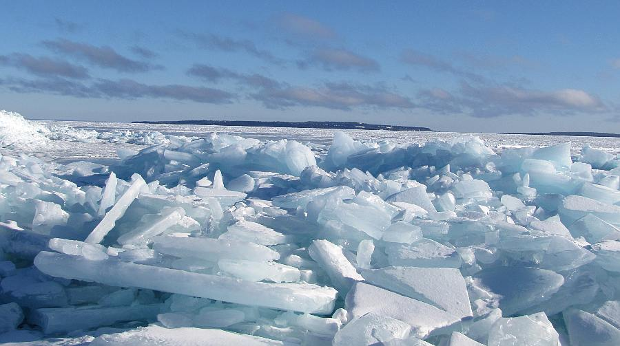 Ice piled near Mackinaw City, Michigan