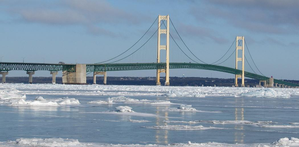 Mackinac Bridge with winter ice
