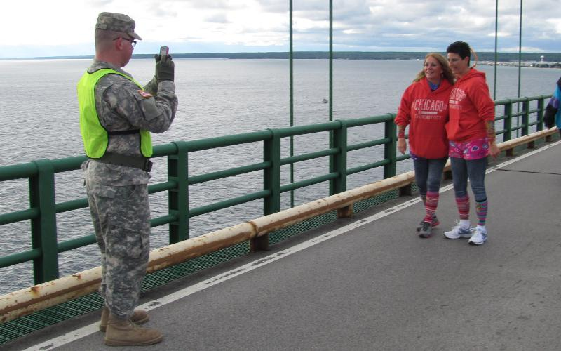 Michigan National Guard soldier on the Mackinac Bridge