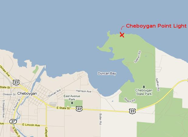 Cheboygan Point Light Map - Cheboygan, Michigan