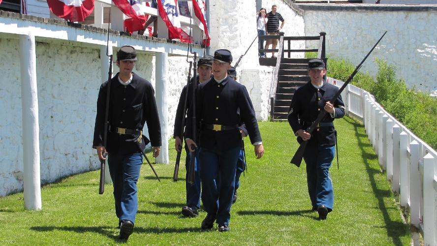 American soldiers at Fort Mackinac