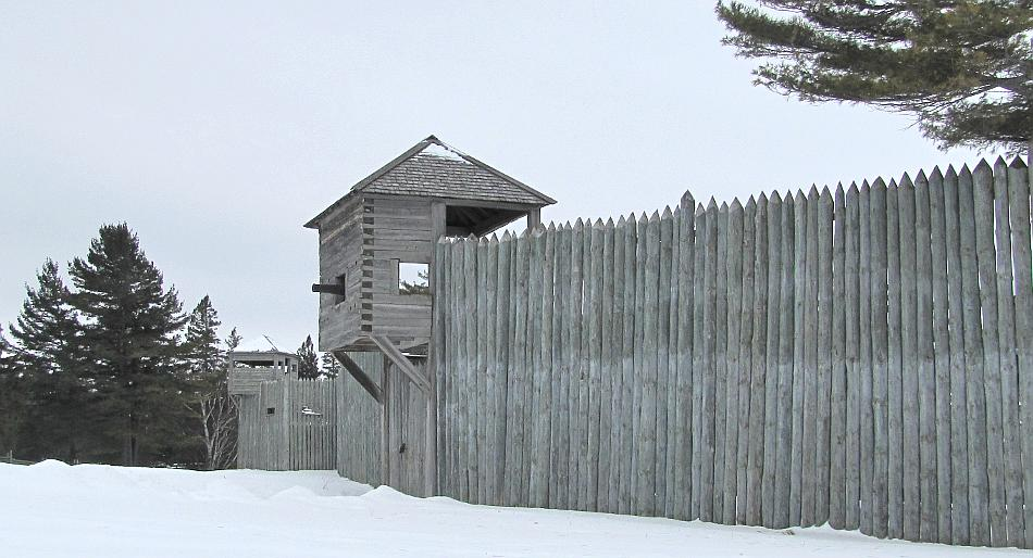 Fort Michilimackinac Land Gate in winter