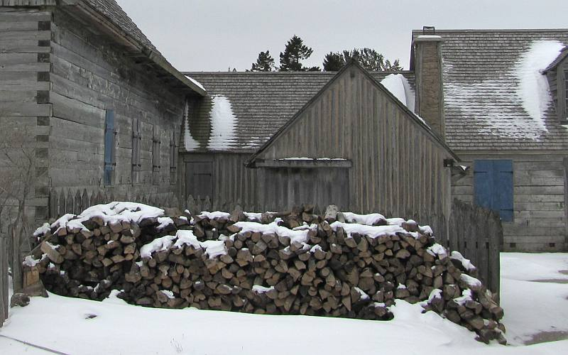 Fort Michilimackinac blacksmith shop in winter