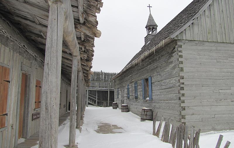 Colonial Fort Michilimackinac in winter