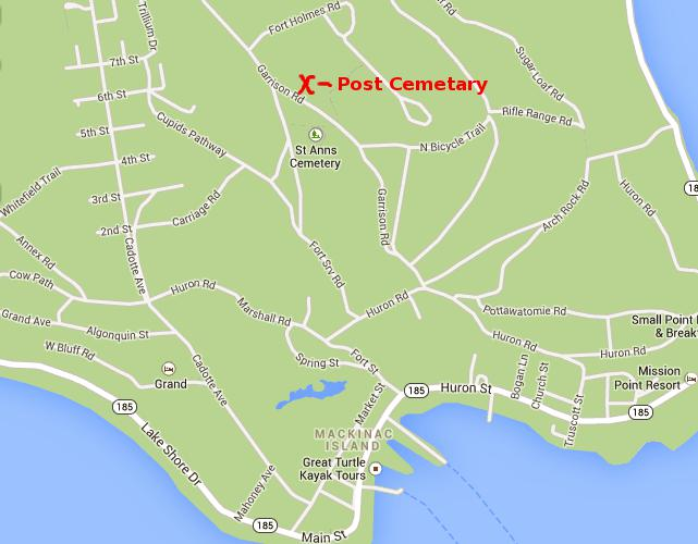 Fort Mackinac Post Cemetery Map - Mackinac Island, Michigan