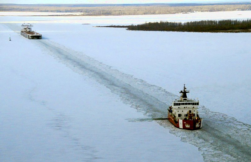 Coast Guard Cutter Mackinaw breaking ice in the St. Mary's RIver