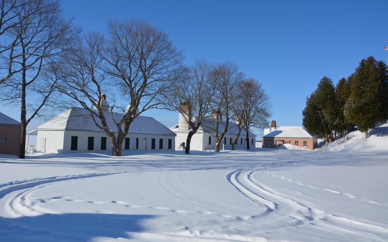 Fort Mackinac officers quarters in winter