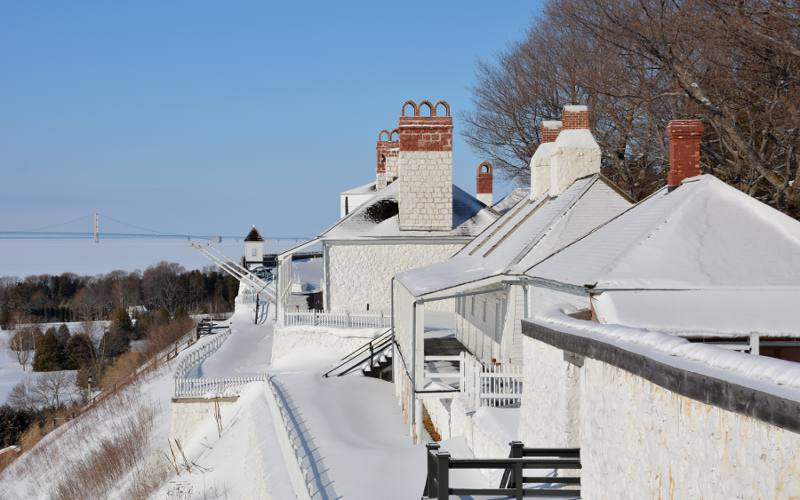 The Mackinac Bridge and the Fort Mackinac officers stone quarters