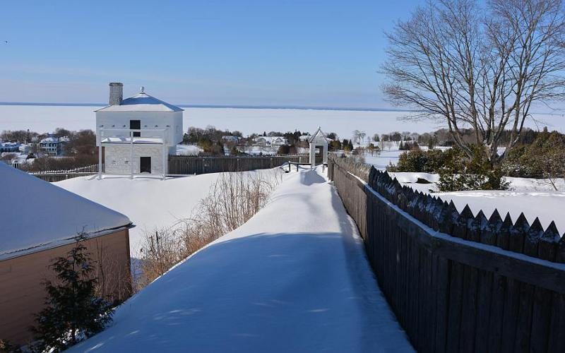 Fort Mackinac west blockhouse and snow drifts