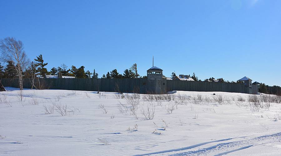 Fort Michilimackinac from the ice off shore