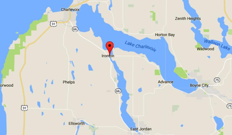 Ironton Ferry Map - Charlevoix, Michigan