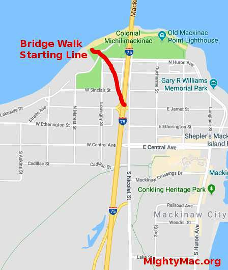 Mackinaw City Shuttle to Bridge Walk Map