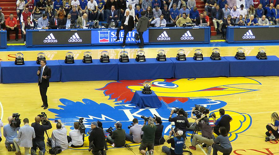Big 12 Champion Basketball Trophies on the Naismith Court at Allen Fieldhouse