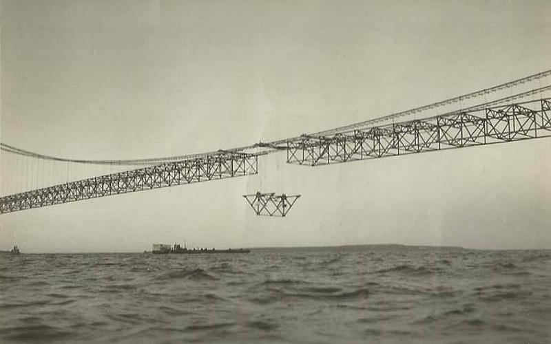 Mackinac Bridge construction - center span connected in 1957
