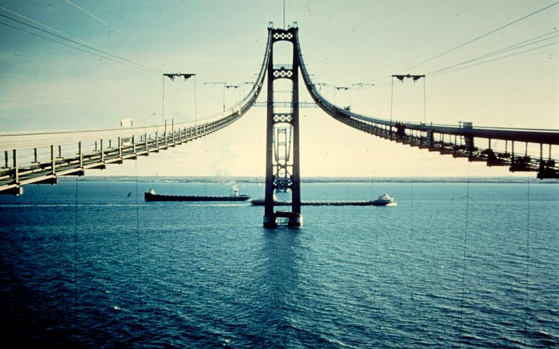 Mackinac Bridge construction and greighters
