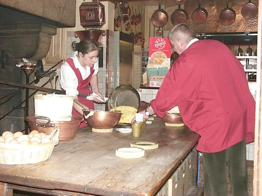 making omelets at Mere Pollard on Mont St. Michel