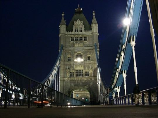 On the Tower Bridge at night