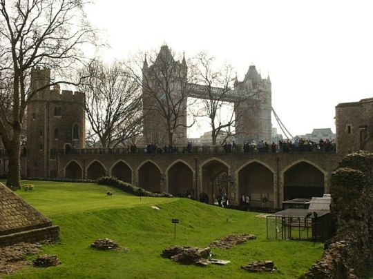 The Tower Bridge as seen from within the Tower of London