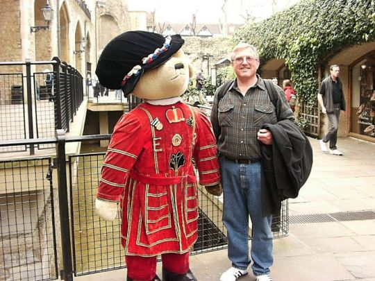 Keith Stokes and beefeater Teddy bear